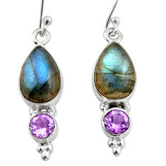 7.67cts natural blue labradorite amethyst 925 silver dangle earrings r21590