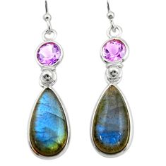 11.93cts natural blue labradorite amethyst 925 silver dangle earrings r21661