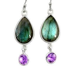 13.13cts natural blue labradorite amethyst 925 silver dangle earrings r29178