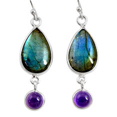 13.13cts natural blue labradorite amethyst 925 silver dangle earrings r29179