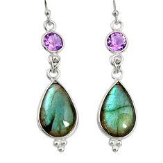 14.73cts natural blue labradorite amethyst 925 silver dangle earrings r29201