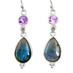 14.73cts natural blue labradorite amethyst 925 silver dangle earrings r29202
