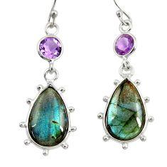 14.08cts natural blue labradorite amethyst 925 silver dangle earrings r29203