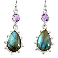 14.17cts natural blue labradorite amethyst 925 silver dangle earrings r29205