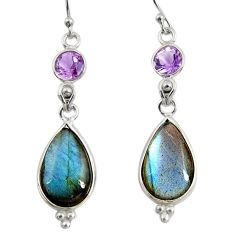 13.64cts natural blue labradorite amethyst 925 silver dangle earrings r29206