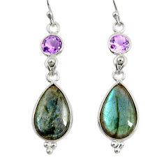 14.06cts natural blue labradorite amethyst 925 silver dangle earrings r29209