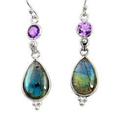 14.08cts natural blue labradorite amethyst 925 silver dangle earrings r29211