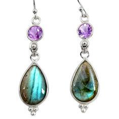 14.81cts natural blue labradorite amethyst 925 silver dangle earrings r29212