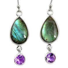 13.13cts natural blue labradorite amethyst 925 silver dangle earrings r29214
