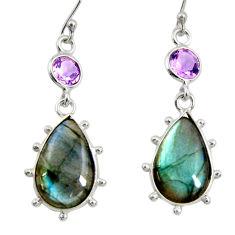 14.08cts natural blue labradorite amethyst 925 silver dangle earrings r29215