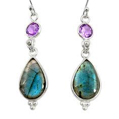 14.17cts natural blue labradorite amethyst 925 silver dangle earrings r29216