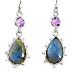 14.76cts natural blue labradorite amethyst 925 silver dangle earrings r29218