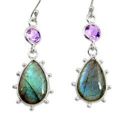 14.08cts natural blue labradorite amethyst 925 silver dangle earrings r29219