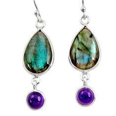11.20cts natural blue labradorite amethyst 925 silver dangle earrings r30381