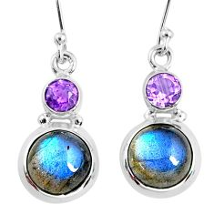 9.86cts natural blue labradorite amethyst 925 silver dangle earrings r66461