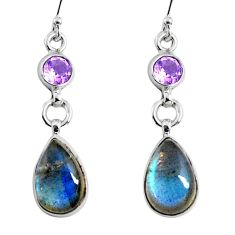 10.71cts natural blue labradorite amethyst 925 silver dangle earrings r66469