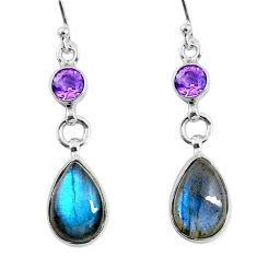 10.32cts natural blue labradorite amethyst 925 silver dangle earrings r66470