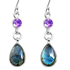 10.27cts natural blue labradorite amethyst 925 silver dangle earrings r66471