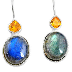 11.23cts natural blue labradorite citrine 925 silver dangle earrings r71345