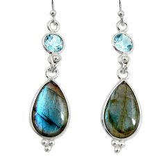 14.73cts natural blue labradorite pear topaz 925 silver dangle earrings r29208