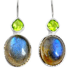 10.65cts natural blue labradorite peridot 925 silver dangle earrings r71343