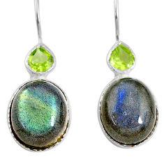 11.73cts natural blue labradorite peridot 925 silver dangle earrings r71347