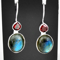 10.72cts natural blue labradorite red garnet 925 silver dangle earrings t6000