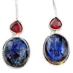 11.73cts natural blue labradorite red garnet 925 sterling silver earrings t7654
