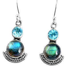 7.83cts natural blue labradorite topaz 925 silver dangle earrings jewelry r59537