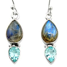 6.83cts natural blue labradorite topaz 925 silver dangle earrings r21585
