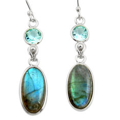 11.28cts natural blue labradorite topaz 925 silver dangle earrings r21671