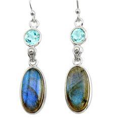 13.52cts natural blue labradorite topaz 925 silver dangle earrings r21675