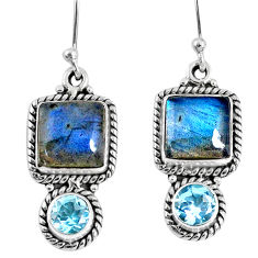 10.21cts natural blue labradorite topaz 925 silver dangle earrings r59815