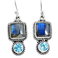 10.60cts natural blue labradorite topaz 925 silver dangle earrings r59816