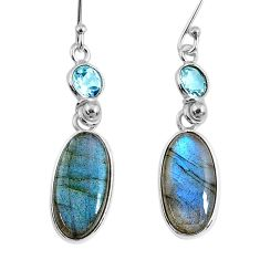 11.96cts natural blue labradorite topaz 925 silver dangle earrings r63623