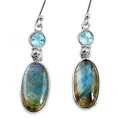 11.45cts natural blue labradorite topaz 925 silver dangle earrings r63624