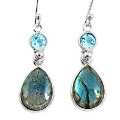 11.84cts natural blue labradorite topaz 925 silver dangle earrings r63626