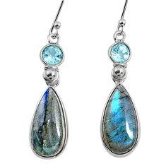 11.28cts natural blue labradorite topaz 925 silver dangle earrings r63635