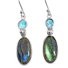 11.96cts natural blue labradorite topaz 925 silver dangle earrings r63638