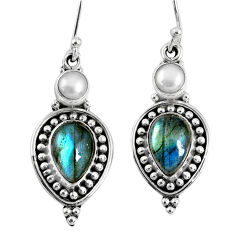 8.83cts natural blue labradorite white pearl 925 silver dangle earrings r59834