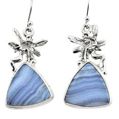 18.56cts natural blue lace agate 925 silver angel wings fairy earrings r45310