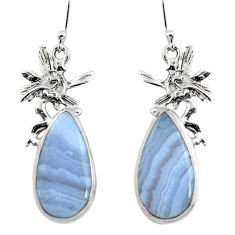 17.11cts natural blue lace agate 925 silver angel wings fairy earrings r45314