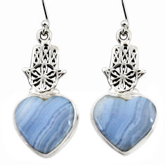 18.82cts natural blue lace agate 925 silver hand of god hamsa earrings r45319