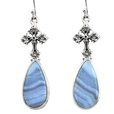 19.48cts natural blue lace agate 925 silver tree of life earrings r45317