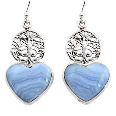 23.66cts natural blue lace agate 925 silver tree of life earrings r45318
