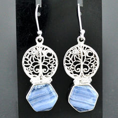 10.06cts natural blue lace agate 925 silver tree of life earrings r96796