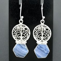 10.25cts natural blue lace agate 925 silver tree of life earrings r96813