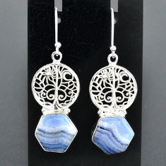 10.25cts natural blue lace agate 925 silver tree of life earrings r96816
