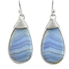 13.08cts natural blue lace agate 925 sterling silver dangle earrings r28933