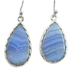12.54cts natural blue lace agate 925 sterling silver dangle earrings r28937